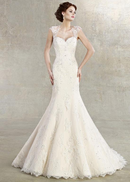 1853f5bfb07a0 Vestido de novia Corte Sirena Manga corta Cola Capilla Natural Otoño -  Página 1 ...