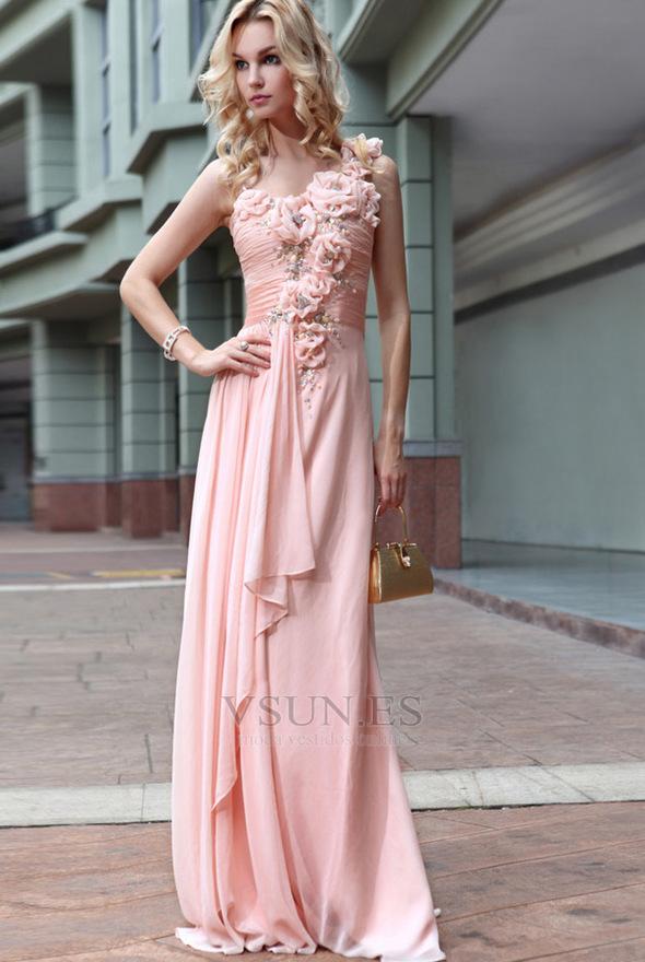 Vestido de noche Natural Bebé rosa Sin mangas Gasa Flores Blusa ...