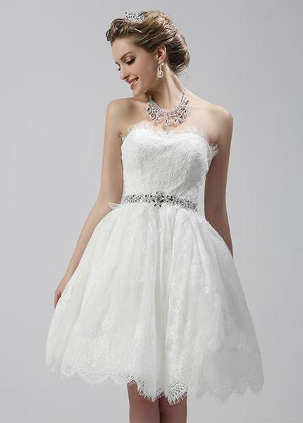 c979e348f9 Vestido de novia Corto Encaje Cremallera Escote Corazón Verano Corte-A -  Página 1 ...
