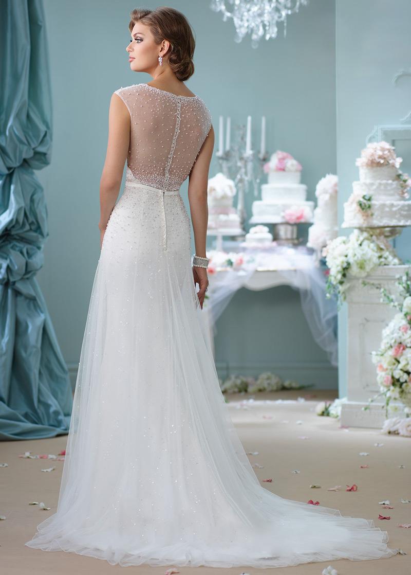 Vestido de novia Corte-A primavera Cremallera Manga corta Perlas tul ...