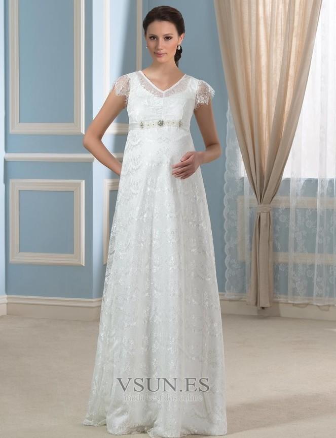 vestido de novia romántico embarazadas otoño encaje cremallera hasta