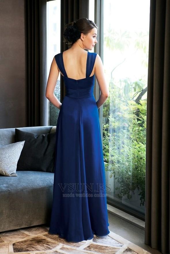 ce7df7b33 ... Vestido de dama de honor Tiras anchas Blusa plisada Hasta el suelo azul  marino - Página