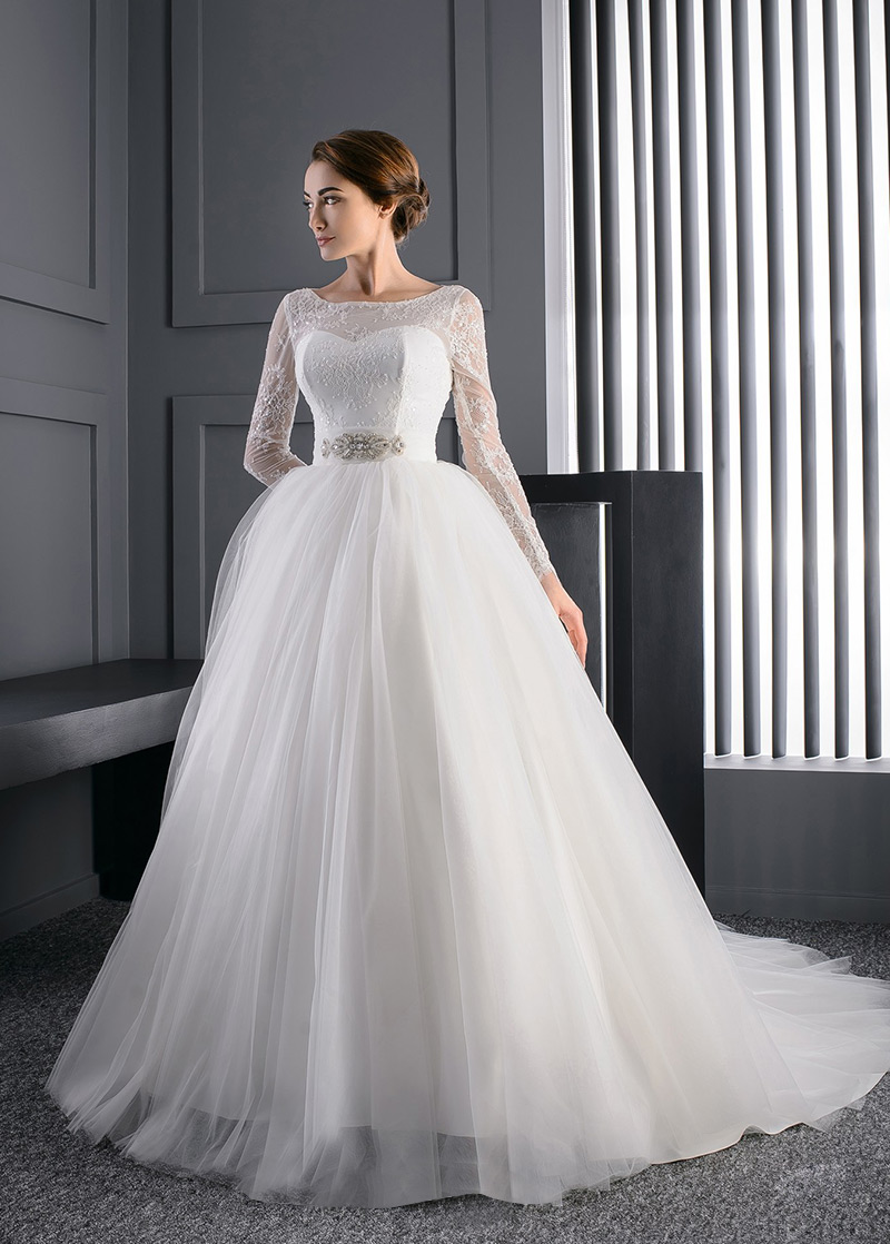 Vestido de novia Manga larga Iglesia Mangas Illusion Cristal tul ...