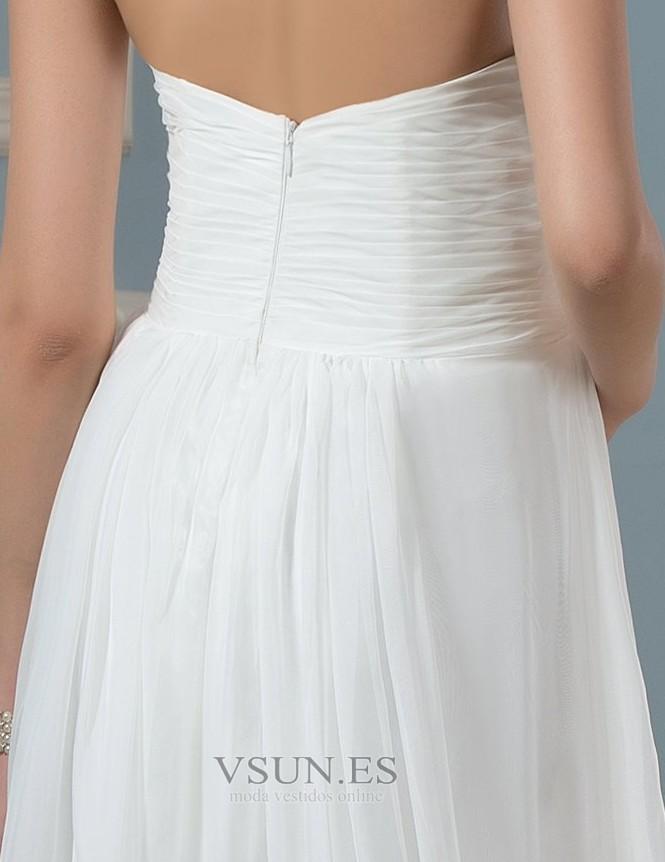 0875d18f3 ... Vestido de novia Imperio Sencillo Gasa Otoño Cola Barriba Plisado -  Página 4 ...
