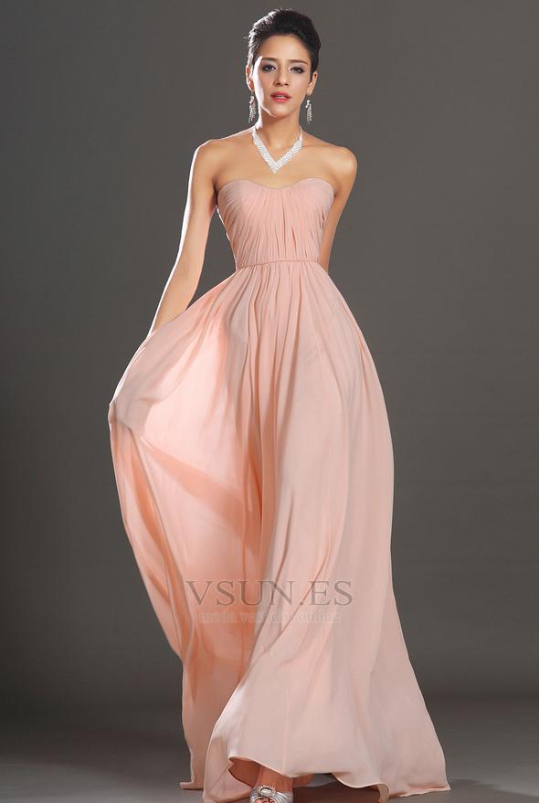 Vestido de noche elegante pequeñas Sin mangas Natural Corte-A ...
