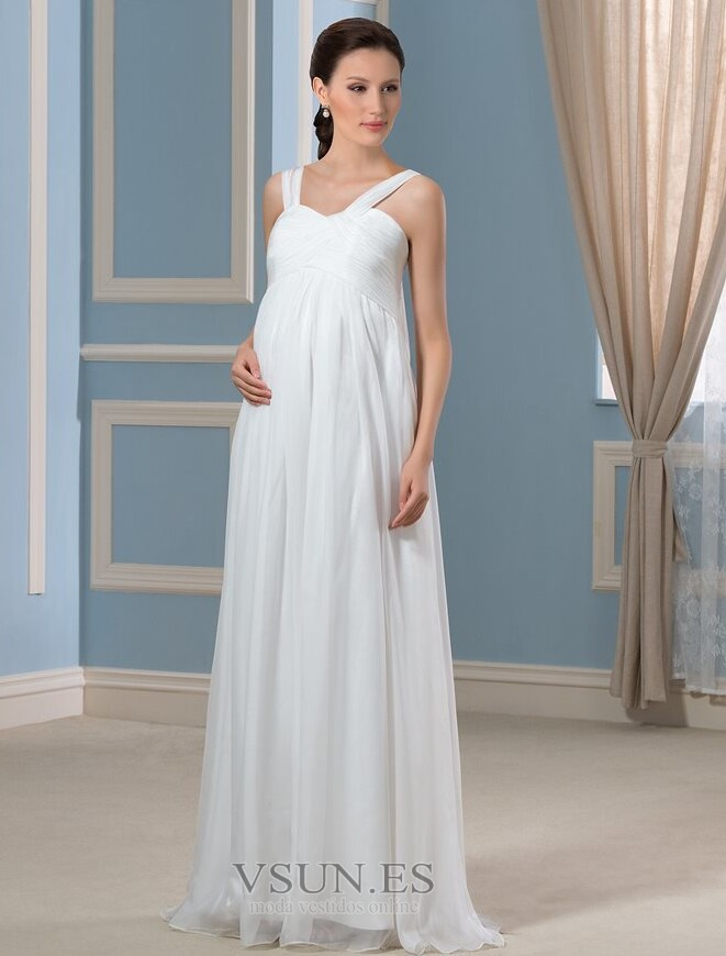 c8a30cb31 Vestido de novia Elegante Otoño Embarazadas Gasa Tiras anchas Imperio -  Página 1 ...