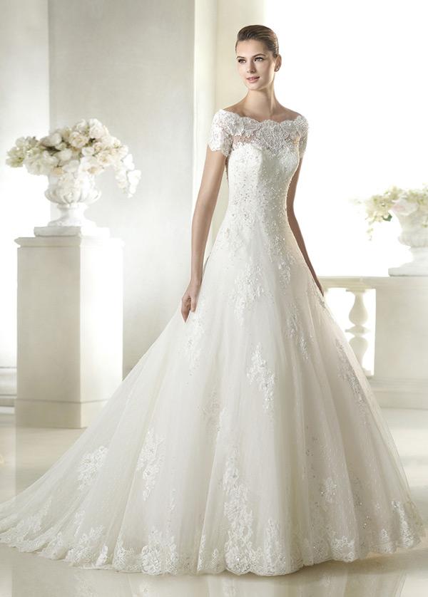 Vestido de novia tul Capa de encaje Corpiño Acentuado con Perla ...