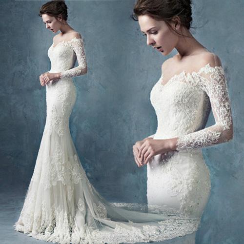 vestido de novia manga larga cremallera sin cintura encaje corte