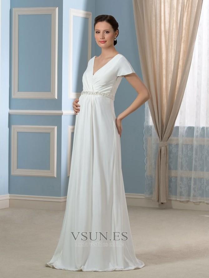 952ca0bd1 ... Vestido de novia Embarazadas Cola Barriba Imperio Cintura Espalda  Descubierta - Página 3 ...