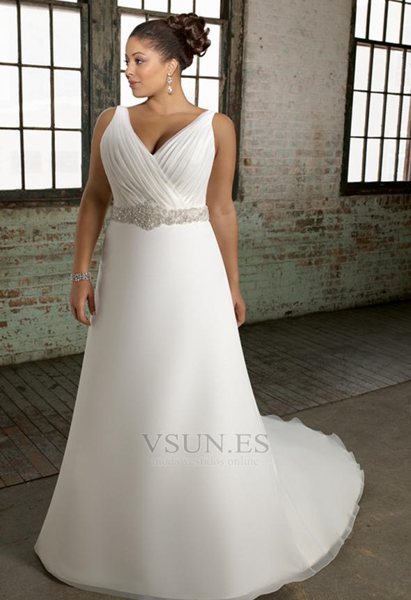 Vestido de novia Cola Catedral Corte princesa Satén Abalorio Escote en V