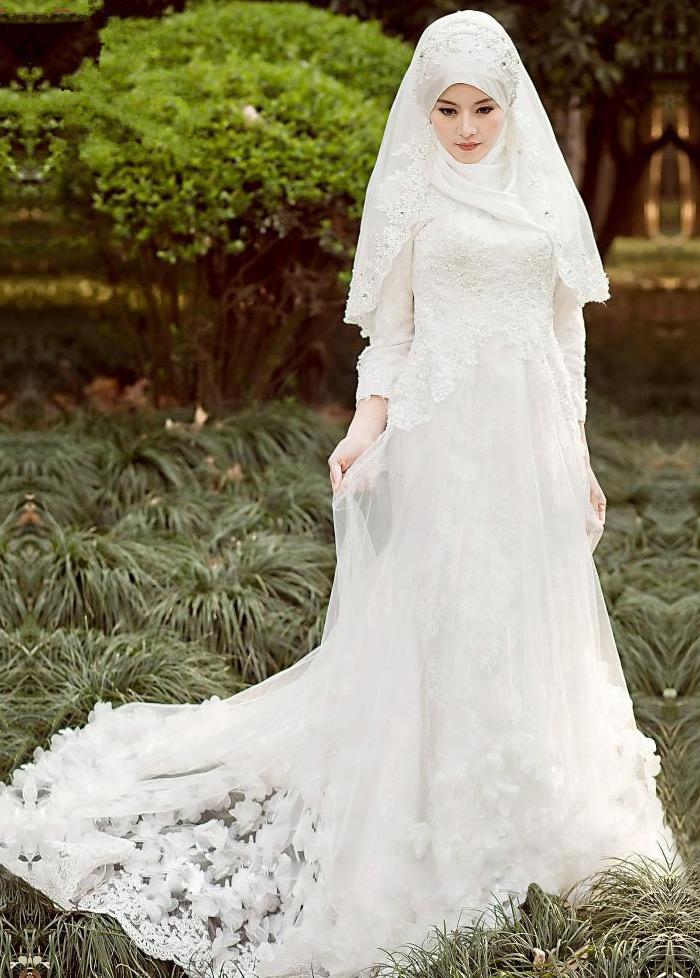 5d868e49de Vestido de novia Manga larga Corte-A Con velo Escote con cuello Alto -  Página ...