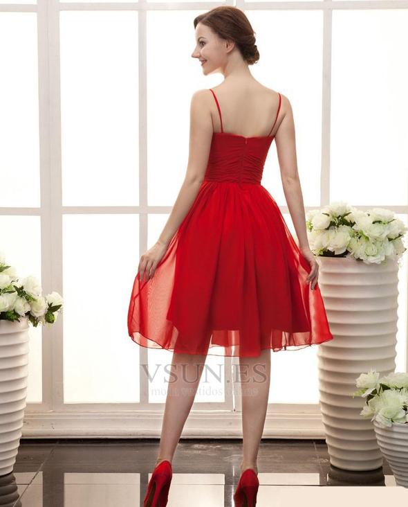 76d165c13 ... Vestido de dama de honor Sin mangas rubí Escote de Tirantes Espaguetis  Volantes Adorno - Página ...