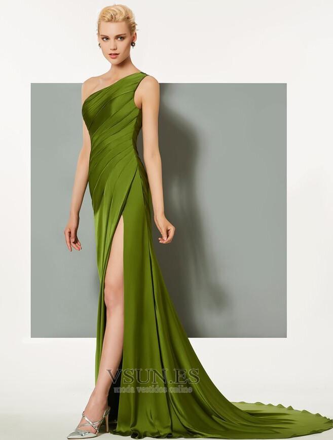 c55850096 ... Vestido de noche Satén Elástico Espalda medio descubierto Blusa plisada  - Página 2 ...