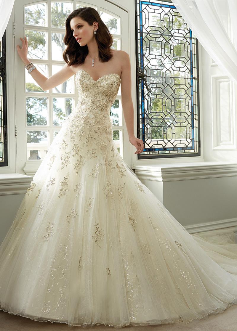 f5ff3708d Vestido de novia Espectaculares tul Apliques Cola Catedral Escote Corazón -  Página 1 ...