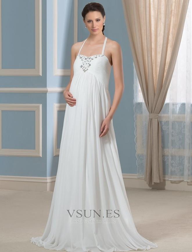 ce3d5cf16 Vestido de novia Embarazadas Sencillo Espalda Descubierta Plisado Imperio  Cintura - Página 1 ...
