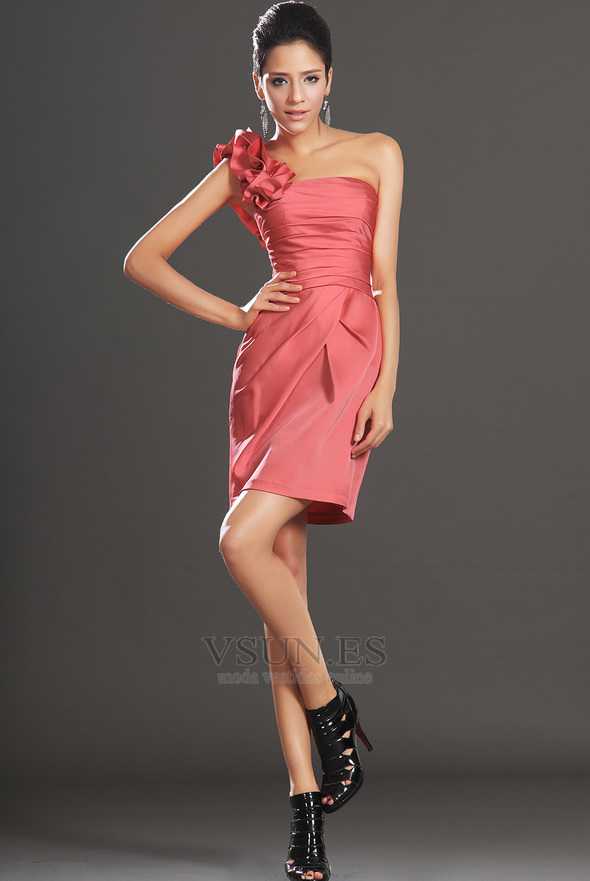 93e465c00 Vestido de cóctel Cremallera Blusa plisada Drapeado Lateal Corte Recto ...