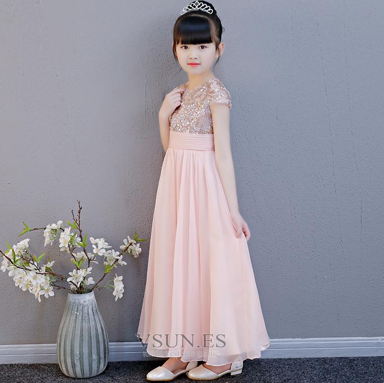 603e2702a Vestido niña ceremonia Natural Gasa Elegante Cremallera Falta Manga ...