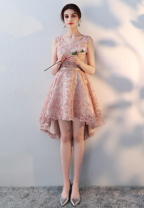 Vestido De Dama De Honor Encaje Asimétrico Dobladillo Sin