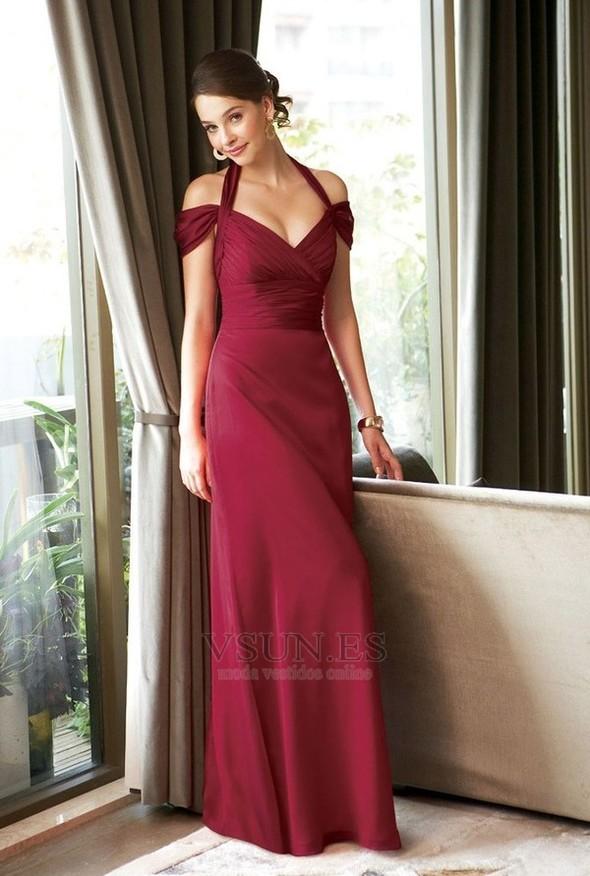 Vestido de noche Granate Corte Recto Blusa plisada Escote con Hombros caídos  - Página 1 ... fabf2180c72