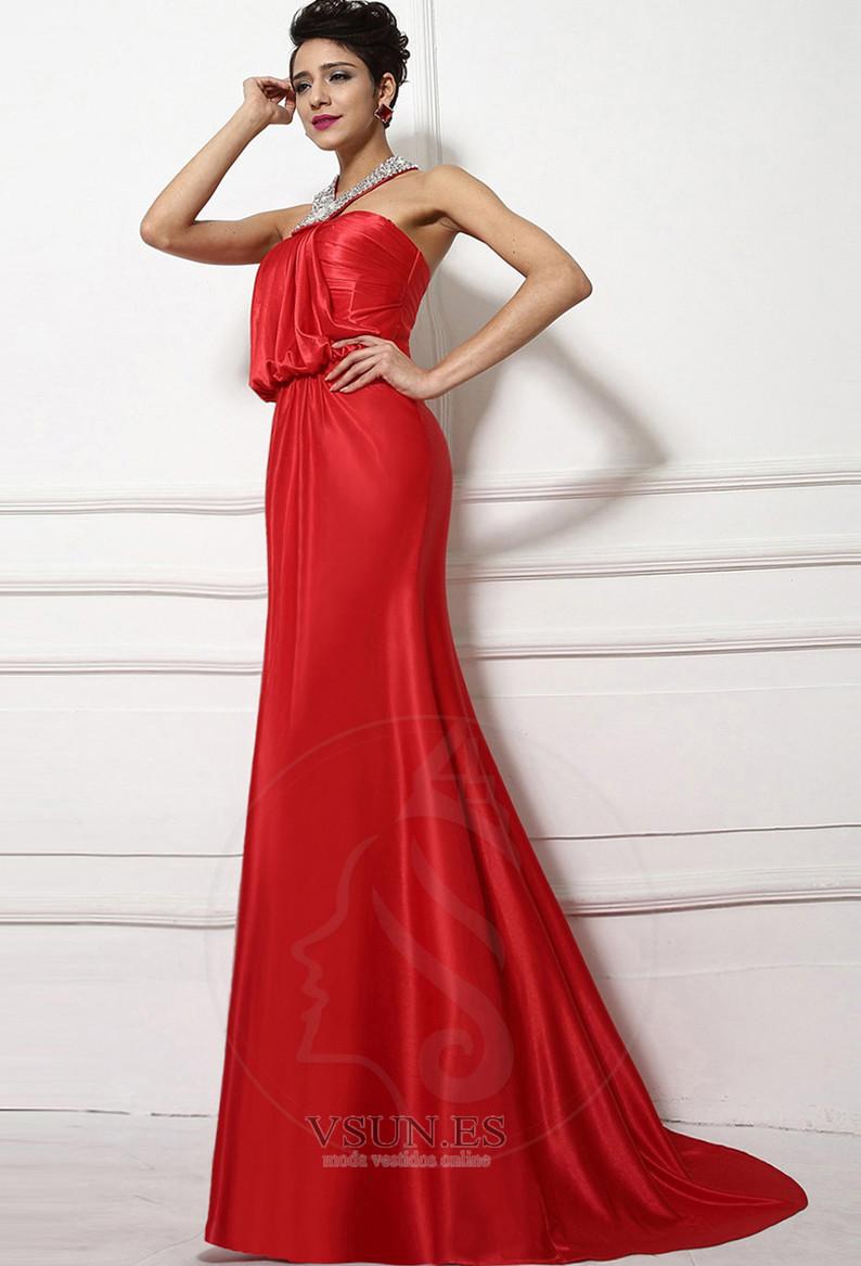 Vestido De Noche Corte Sirena Satén Largo Drapeado Cordón