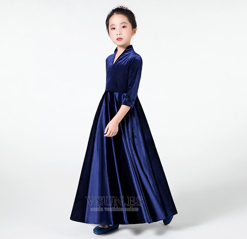 d6b087881 Vestido niña ceremonia Hasta el Tobillo Formal Cremallera Camiseta Drapeado  - Página 1 ...