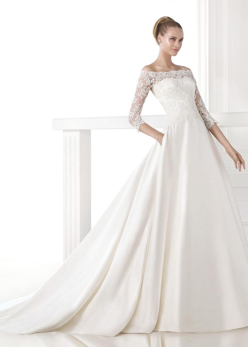Vestido de novia Escote con Hombros caídos Con velo Cremallera Cola ...