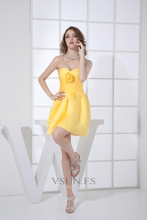 Vestido de dama de honor Corto Natural Falta Corte-A Satén Flores - Página  1 ... 9e740a41f0b5