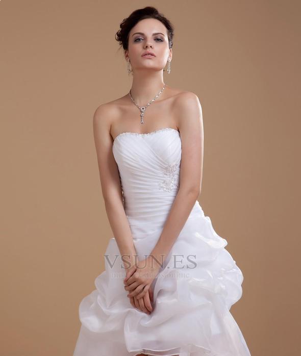 Vestido de novia informales Asimètrico Falta Blanco Espalda medio ...
