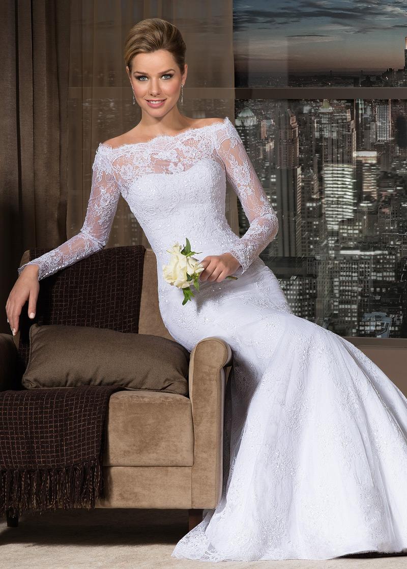 Vestido de novia de encaje escote con hombros caídos baratos online ...