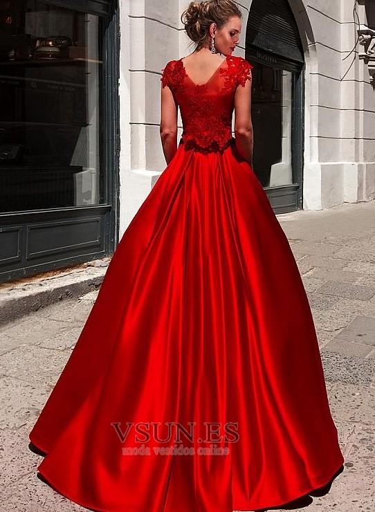073804be2 ... 1 Vestido de fiesta Satén Natural Cola Barriba Joya Abalorio Corte-A -  Página 2 ...