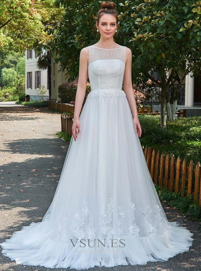 vestido de novia natural barco largo pura espalda encaje reloj de