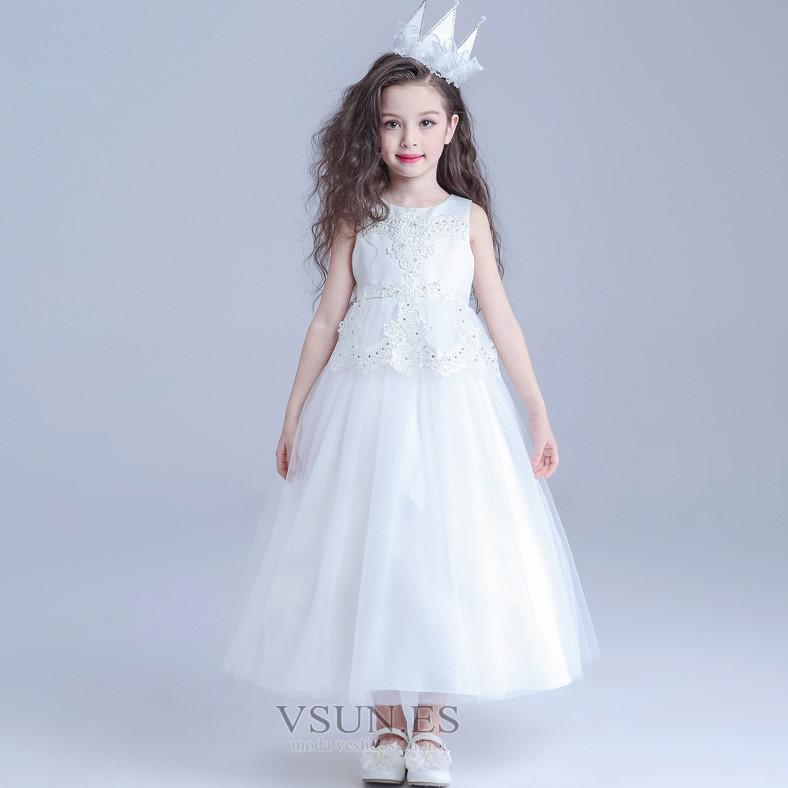 b842633a2 Vestido niña ceremonia Oscilación tul Sin mangas Capa de encaje ...