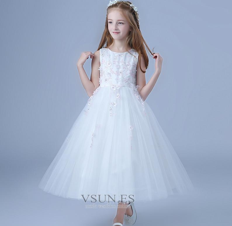 8b786670ecb66 Vestido niña ceremonia Lazos Oscilación Joya Satén Arco Acentuado Natural -  Página 1 ...