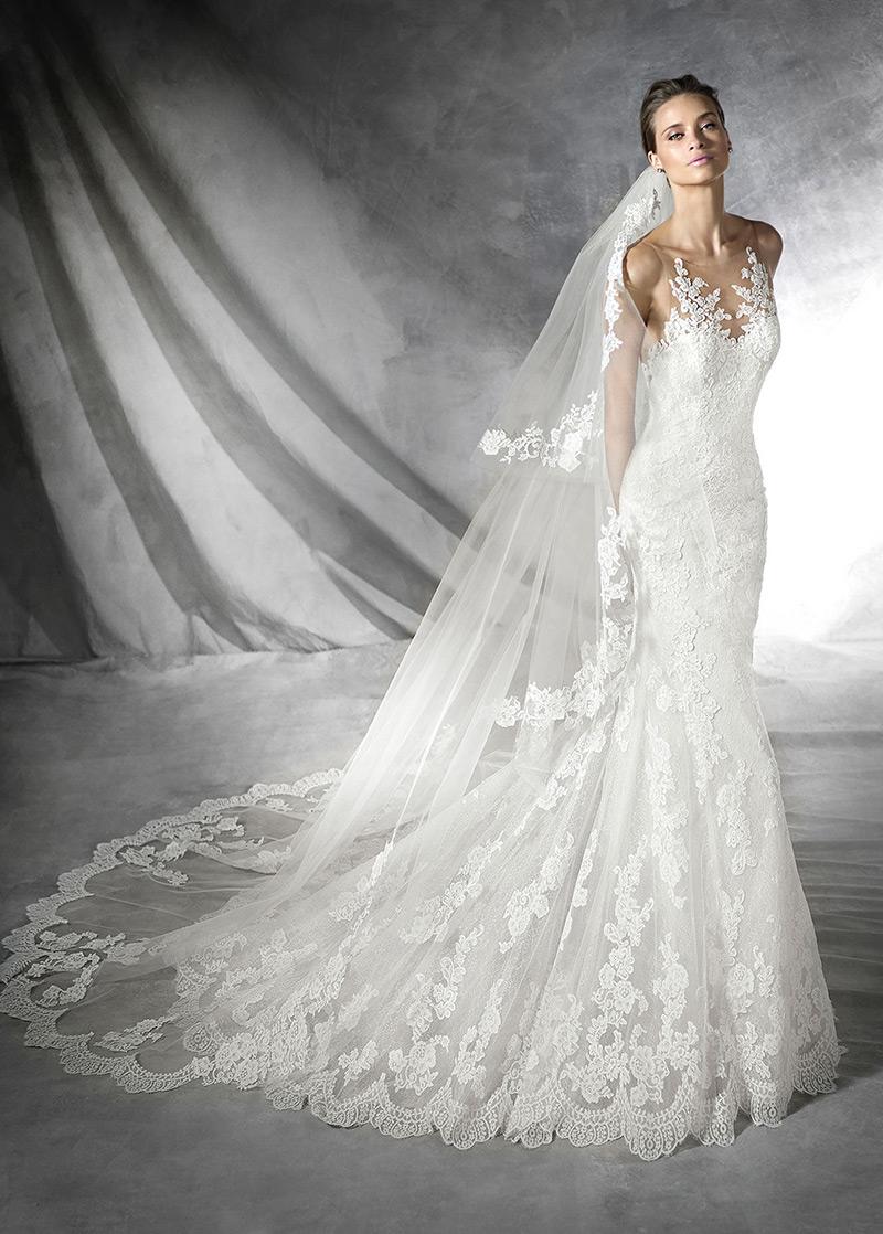 609256c18 Vestido de novia Sala Con velo Barco Encaje Natural largo - Página 1 ...