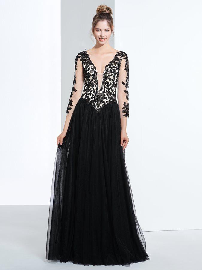 b2a3bb8c7f73 Vestidos de fiesta manga larga con encaje – Vestidos baratos
