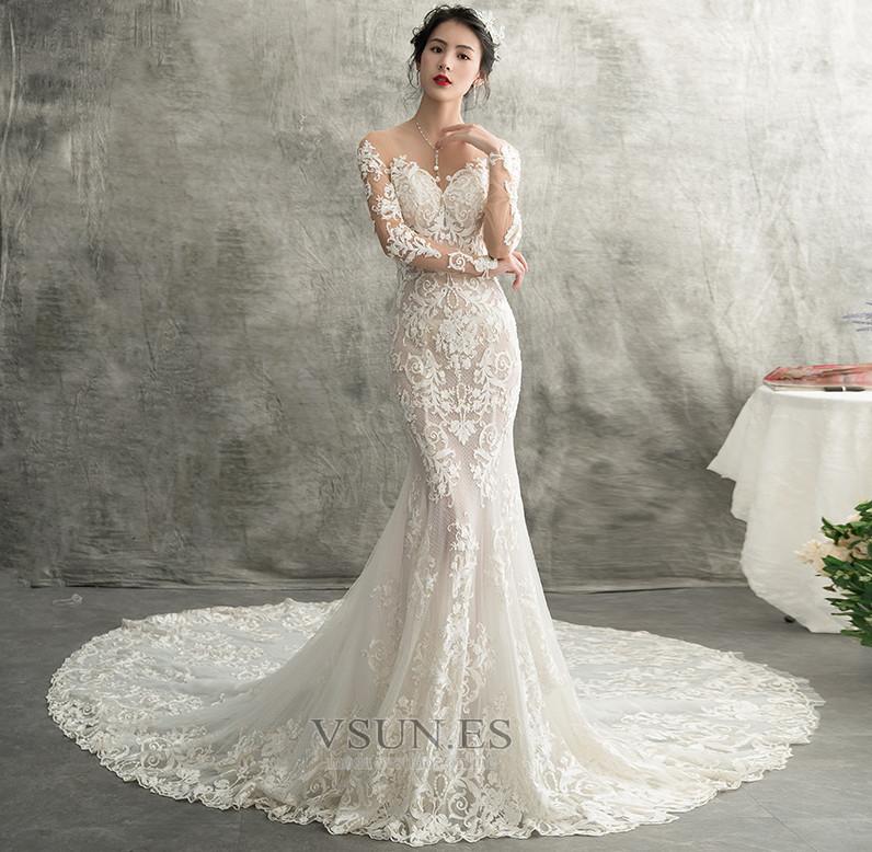 vestido de novia encaje natural capa de encaje espalda descubierta