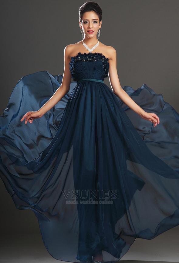 198eefe63bfbb ... 1 Vestido de noche Gasa Sin tirantes Imperio Cremallera Apliques Azul  Marino - Página 2 ...