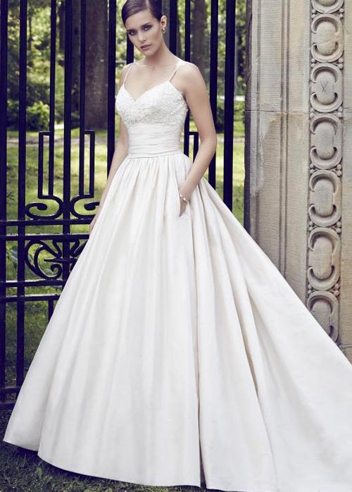 3f5d2fbf2b83e Vestido de novia Sin mangas Satén Cola Capilla Natural Otoño Bolsillos -  Página 1 ...