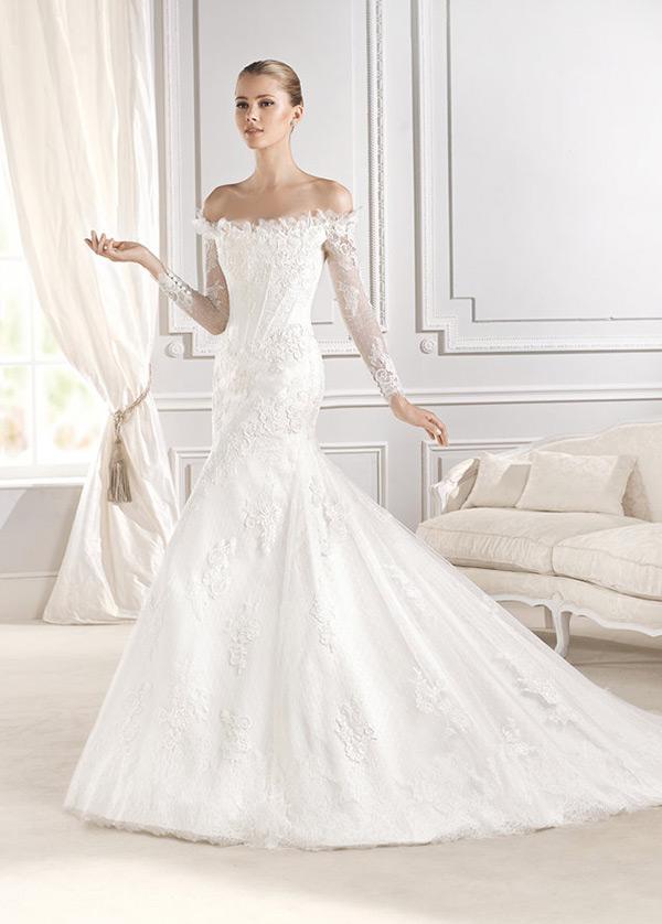 vestido de novia clasicos corte sirena escote con hombros caídos