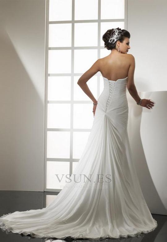 vestido de novia sencillo cintura baja drapeado lateal primavera