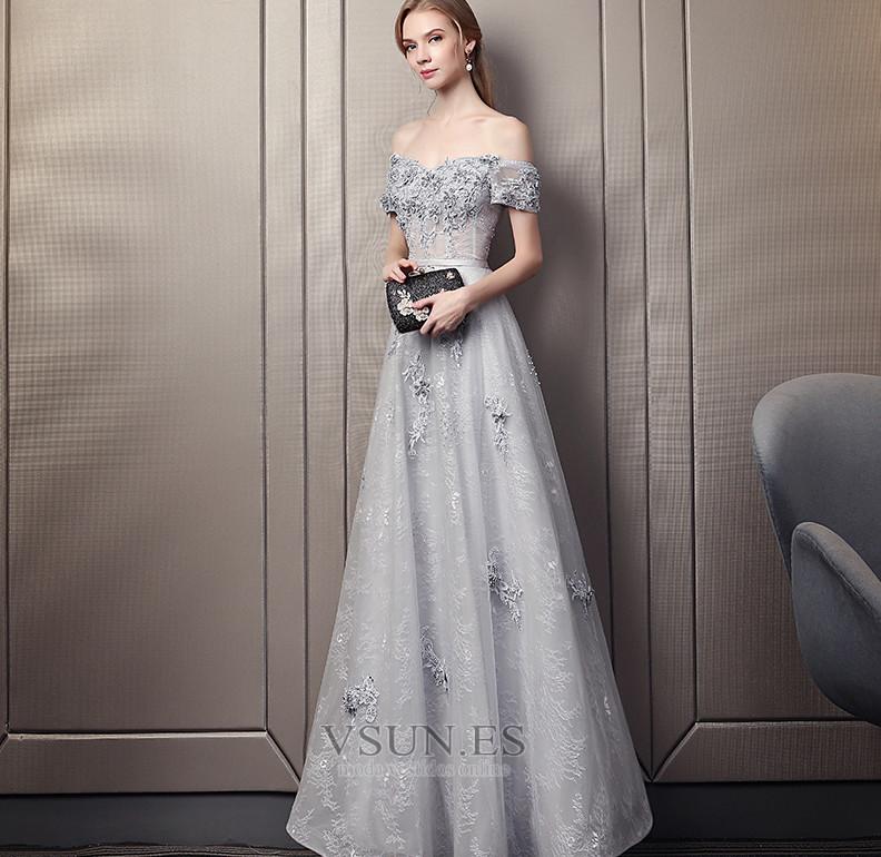 7c811024678 Vestido de noche Escote con Hombros caídos Natural Encaje Elegante Hasta el  Tobillo - Página 1 ...
