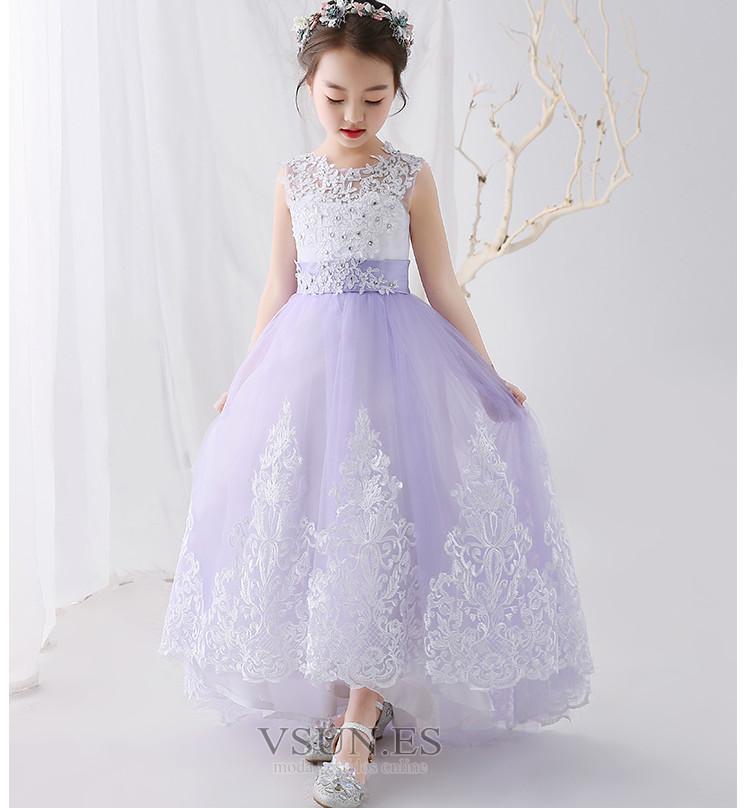 53492abd4 Vestido niña ceremonia Hasta el suelo Sin mangas Cordón Falta Encaje ...