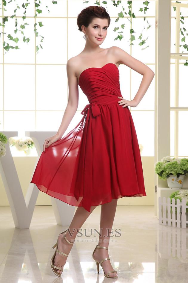 c29dc64686 ... Vestido de dama de honor Corte-A Sin mangas Lazos Sin tirantes Informal  Hasta la ...
