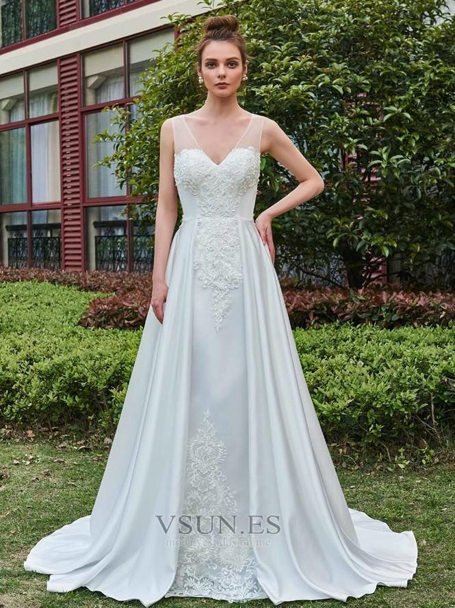 Vestido de novia Pura espalda Satén Formal Capa de encaje Cola ...