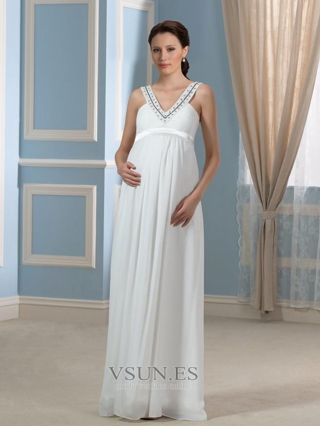 de706ad504 Vestido de novia Sencillo Imperio Cintura Embarazadas Abalorio Escote en V  - Página 1 ...