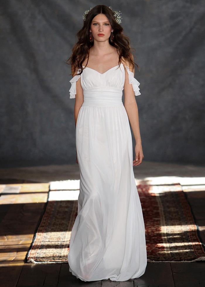 d286af5fb Vestido de novia Imperio Plisado Natural Cola Barriba Sin mangas Verano -  Página 1 ...
