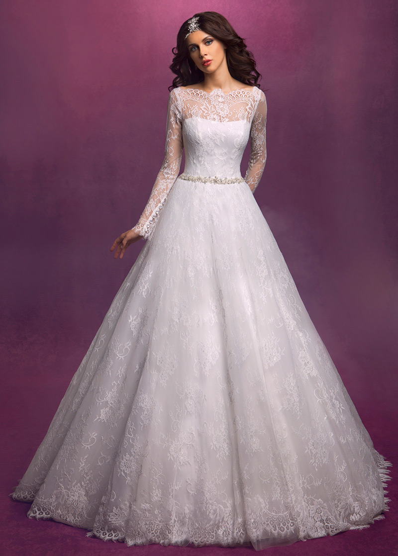 Vestido de novia Mangas Illusion Cristal Cremallera Encaje Natural ...
