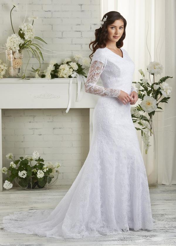 vestido de novia manga larga mangas illusion tul escote en v corte