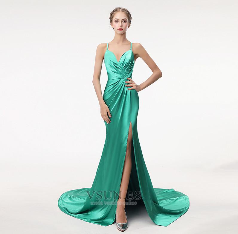 Vestido de fiesta Sencillo Falta Corte-A Escote en V Criss Cross Satén -  Página ... b8b747db7c3c