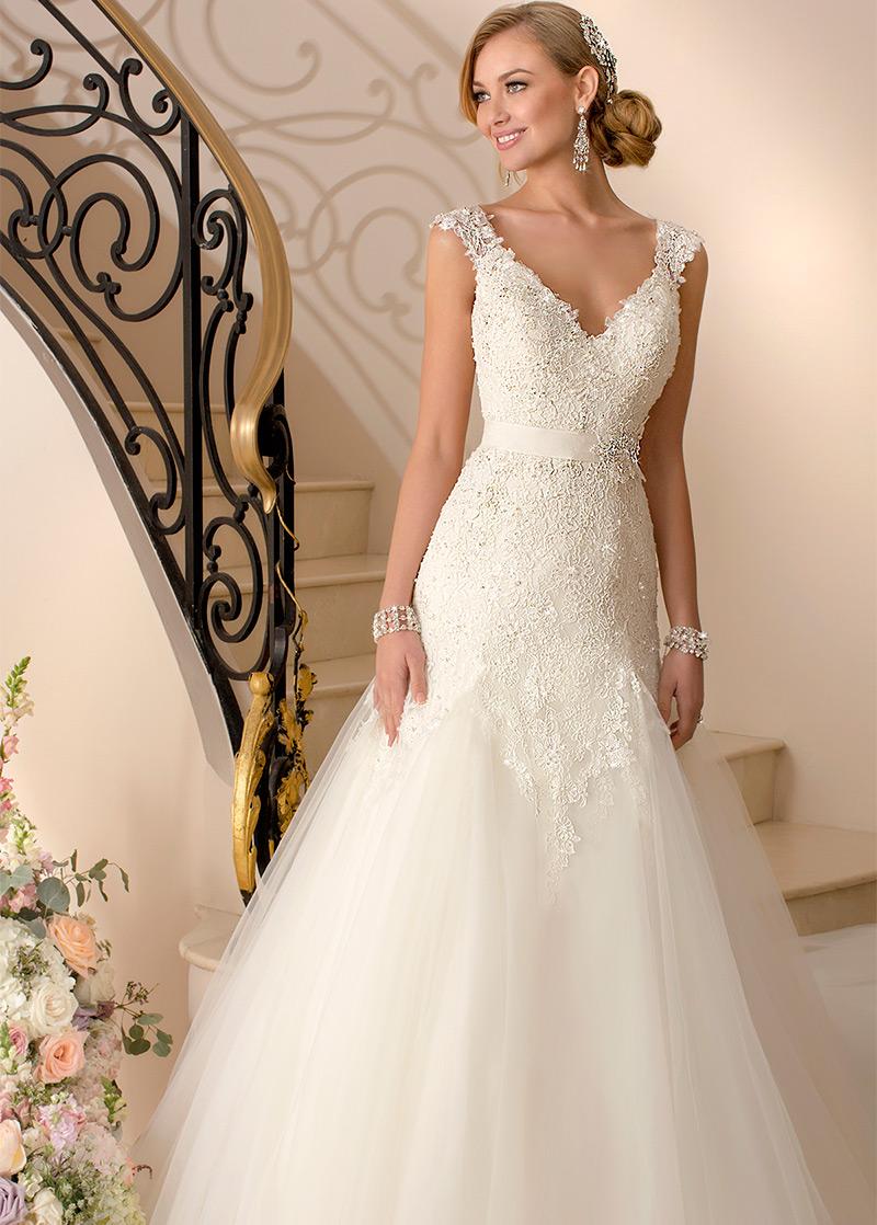 Vestido de novia Apliques Encaje Cintura Baja Moderno Espalda medio ...